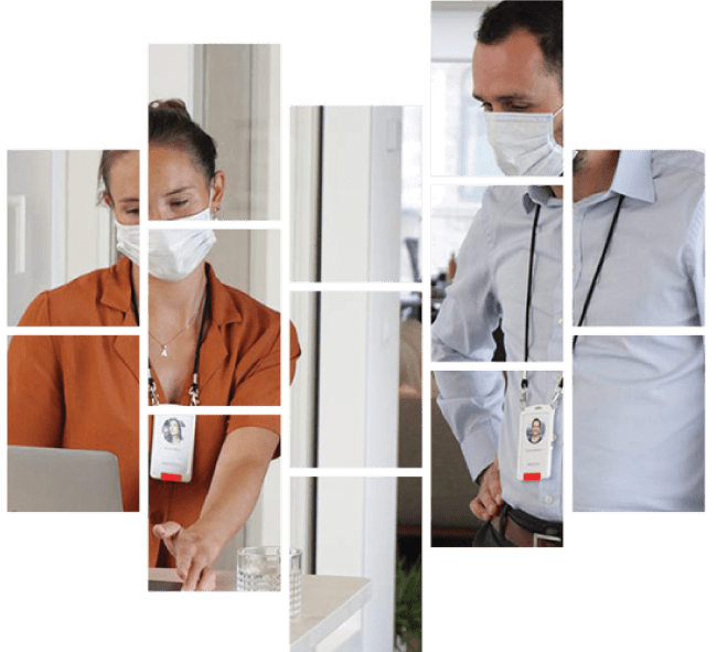 office staff with masks running contact tracing