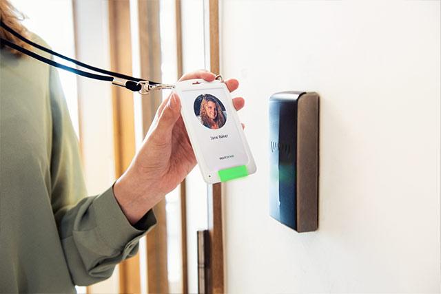 Swiping badgeholder on access door